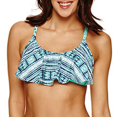 Ibiza Solid Flounce Swimsuit Top-Juniors