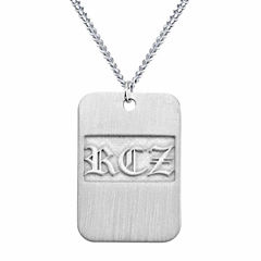 Personalized Brushed Monogram Dog Tag Necklace