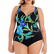 Robby Len By Longitude Solid One Piece Swimsuit Plus