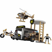 Classic Toy 133 Piece Wood Police Station With Accessories