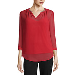 Liz Claiborne 3/4-Sleeve Embellished V- Neck Blouse