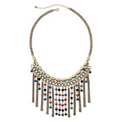 Mixit™ Multicolor Stone Chain Fringe Statement Necklace