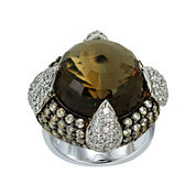 Womens Brown Quartz Halo Ring
