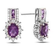 Genuine Amethyst & Lab Created White Sapphire Sterling Silver Earrings