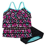 Total Girl Girls Pattern Tankini Set - Big Kid