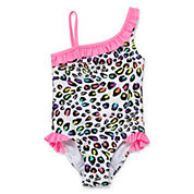 Okie Dokie Girls Pattern One Piece Swimsuit-Preschool