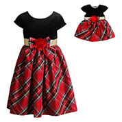 Red Plaid Dress With Red Velvet Bodice