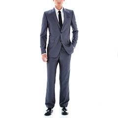 JFJ Ferrar Gray Luster Herringbone Slim Fit Suit Separates