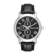 Claiborne® Mens Croc-Look Black Leather Strap Watch