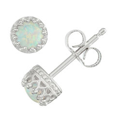 Children's Sterling Silver Opal 4mm Stud Earrings