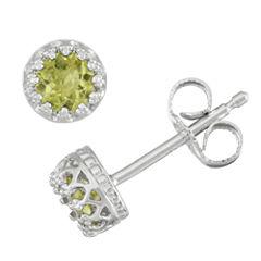 Round Green Peridot Sterling Silver Stud Earrings