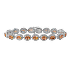 Genuine Citrine & Diamond Accent Sterling Silver Bracelet