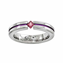 Edward Mirell Mens Genuine Purple Rhodolite Titanium Wedding Band