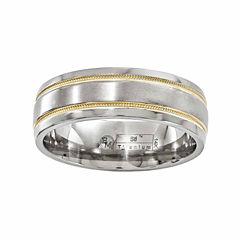 Edward Mirell Mens 14K Gold Titanium Wedding Band