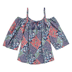 Arizona Printed Boho Cold Shoulder Woven Top - Girls' 7-16 and Plus
