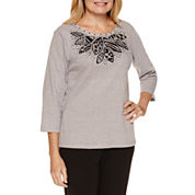 Alfred Dunner Casual Friday 3/4 Sleeve Embroidery Detail Top