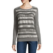 Liz Claiborne Long Sleeve Crew Neck Sweater Knit Pullover Sweater