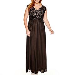 Melrose Cap-Sleeve Sequin-Bodice Gown - Plus