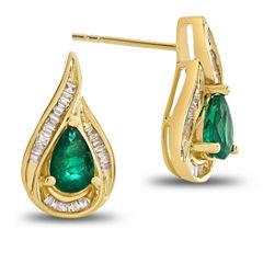 1/5 CT. T.W. Genuine Emerald 14K Gold Drop Earrings