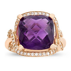 Womens 1/2 CT. T.W. Purple Amethyst 10K Gold Cocktail Ring