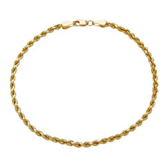 14K Yellow Gold 3mm Rope Chain Bracelet