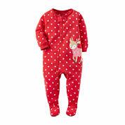Carter's Girls Long Sleeve Footed Pajamas-Toddler