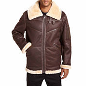Excelled Leather Faux Shearling Bomber Jacket