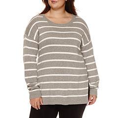Arizona Long Sleeve Stripe Pullover Sweater-Juniors Plus