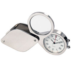 Natico Portable Travel Alarm Clock and Magnifier with Leather Case