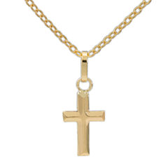 14K Yellow Gold Polished Cross Pendant Necklace