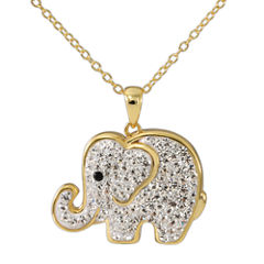 14K Yellow Gold Over Silver Crystal Elephant Pendant Necklace
