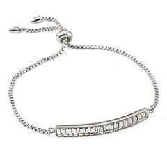 Womens White Crystal Bolo Bracelet