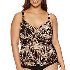 Trimshaper Leaf Tankini Swimsuit Top-Plus