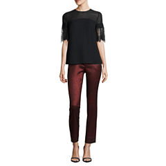 Worthington Short Lace Sleeve Blouse and Slim Fit Ankle Pants