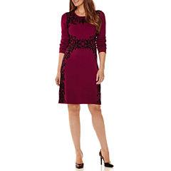 Studio 1® Long-Sleeve Damask Pattern Sweater Dress