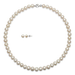 Cultured Freshwater Pearl Necklace & Earring Boxed Set