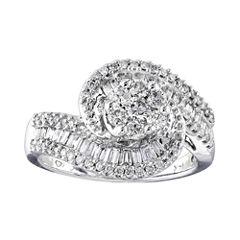 diamond blossom 1 CT. T.W. Diamond 10K White Gold Swirl Ring