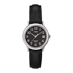 Timex® Easy Reader Womens Black Leather Strap Watch T2N5259J