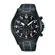 Pulsar® Business Mens Black Stainless Steel Solar Chronograph Sport Watch PX5039