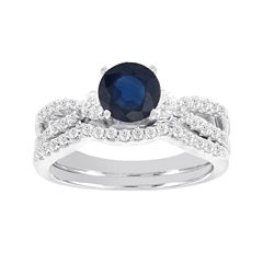 Blooming Bridal 1/2 CT. T.W. Diamond and Genuine Blue Sapphire Bridal Ring Set