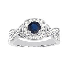 Blooming Bridal 1/2 CT. T.W. Diamond and Genuine Blue Sapphire Bridal Ring