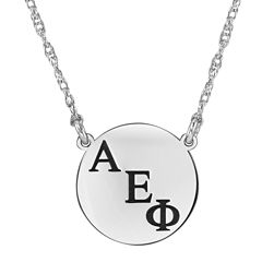 Personalized Greek Letters 16mm Circle Pendant Necklace