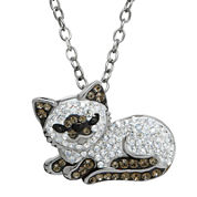 Animal Planet™ Crystal Sterling Silver Siamese Cat Pendant Necklace