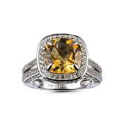 Womens Orange Citrine 14K Gold Over Silver Halo Ring