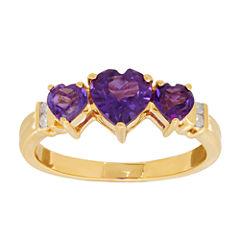Genuine Amethyst & Diamond Accent 10K Yellow Gold Ring