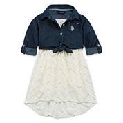 U.S. Polo Assn. Short Sleeve Skater Dress - Toddler