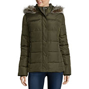 St. John's Bay® Faux-Fur Trim Puffer Coat