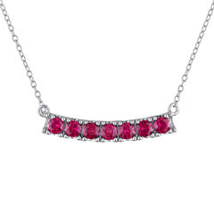 Lab-Created Ruby Sterling Silver Necklace