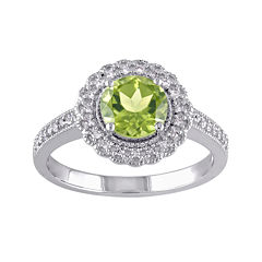 Genuine Peridot and 1/7 CT. T.W. Diamond Ring