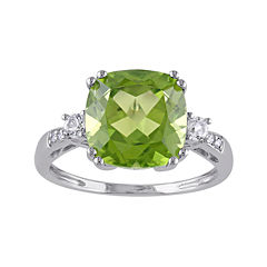 Genuine Peridot, Lab-Created White Sapphire and Diamond-Accent Ring